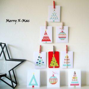 idee zelf kerstkaarten maken met washi tape