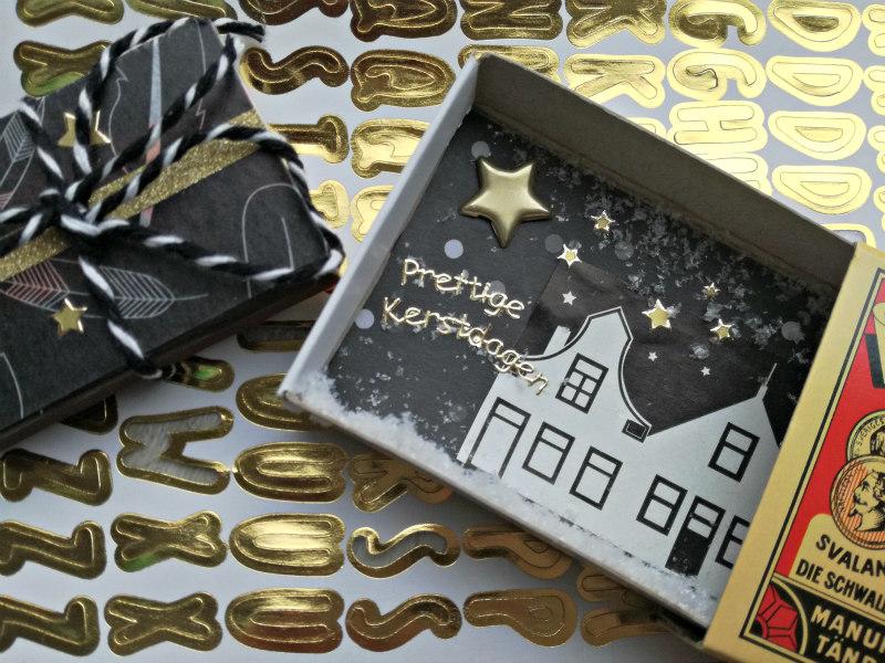 kerstkaarten maken in een doosje